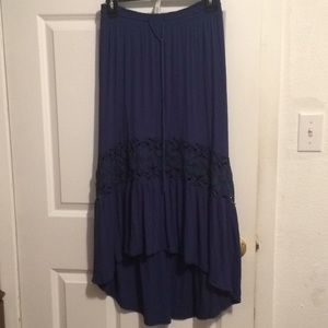 Aeropostale high low navy skirt with lace detail
